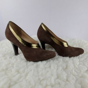 COLE HAAN NIKE AIR Brown Suede and Gold High Heels